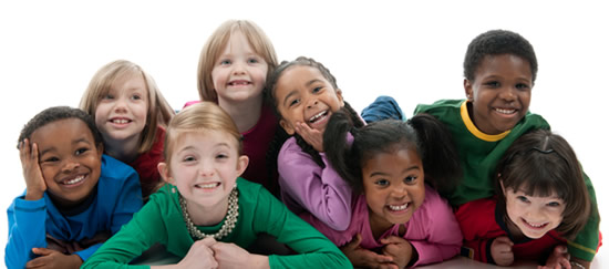 Multi-racial children smiling